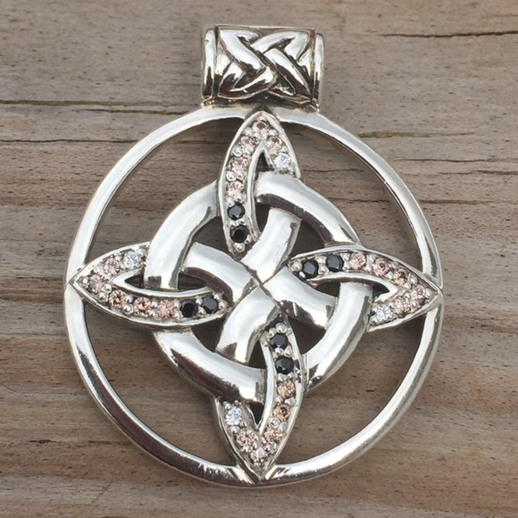 Peter Stone Jewelry Witches Knot Pendant 925 Silver Swarovski